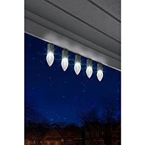 Set of 12 Faceted Brilliant White C9 Lights Led Light Show Gemmy Syncronized String Light Set