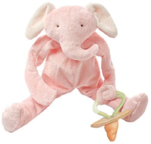 Bunnies By The Bay Peanut Silly Buddy Plush Toy, Pink Elephant with Pacifier Holder
