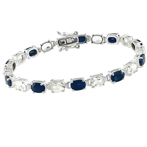 Sterling Silver 19ct TGW Black Sapphire and White Topaz Bracelet (7.25in)