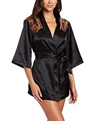Sexy Black Kimono Intimate Sleepwear Robe Set - 3 Piece Lingerie