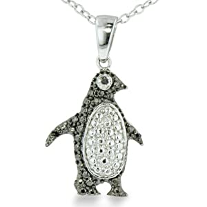 Adorable Black Diamond Penguin Necklace in Sterling Silver