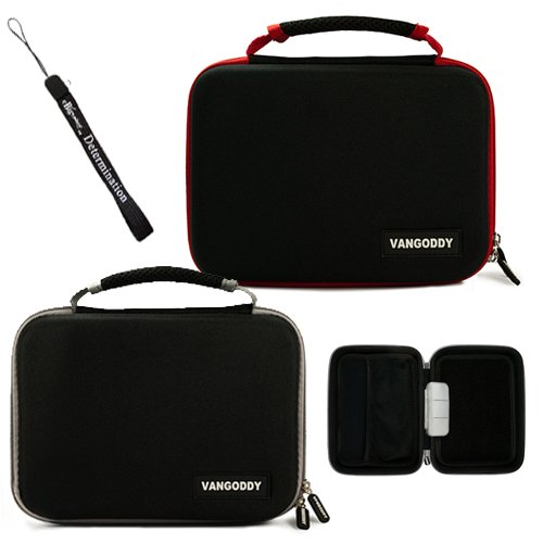 Dual Ultimate Travel Package Deal: Black Gray Case + Black Red Case (X2) Easy Travel With Maximum Protection Hard Nylon Cube Carrying Case For Philips Pd7016 7-Inch Portable Lcd Dual Dvd Player + Includes A Ebigvalue Determination Hand Strap Key Chain