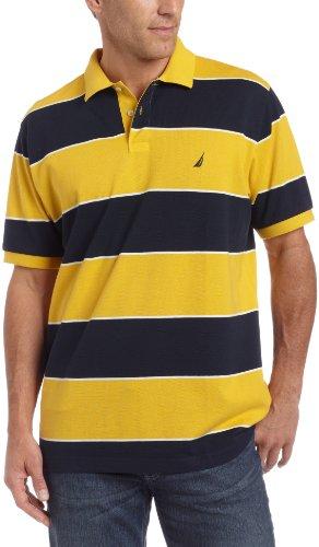 Nautica Mens Anthony Stripe Polo, Gold, XX-Large