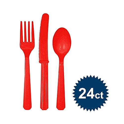 Heavy Duty Red Plastic Cutlery 24 Assorted Pack - 1