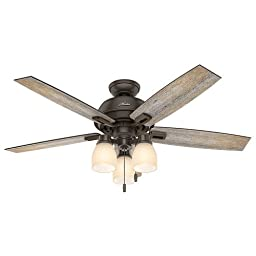 Hunter Fan Company 53336 Casual Donegan Onyx Bengal Ceiling Fan With Light, 52\