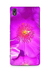 AMEZ Drawn Purple Flowers Back Cover For Sony Xperia Z2