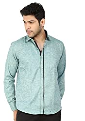 Basilio's Blue Colored Semi Formal Shirt For Men-L