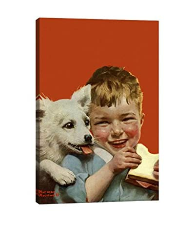 Norman Rockwell Laughing Boy with Sandwich and Puppy Giclée Print