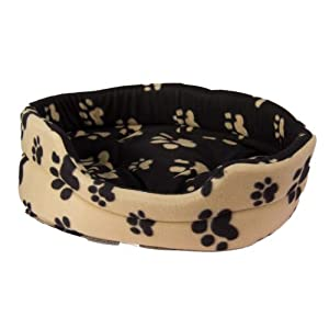 Luxury Black Cream Paw Print Design Soft Pet Bed Dog Puppy Basket Oval (Large)