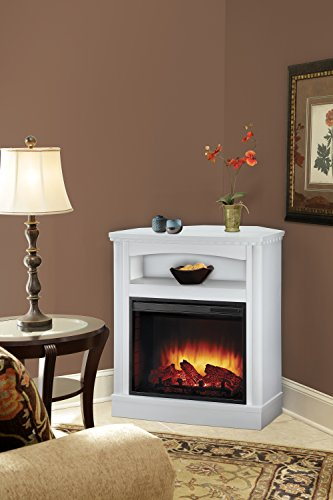 Pleasant Hearth Thompson Compact Wall/Corner Media Fireplace, White