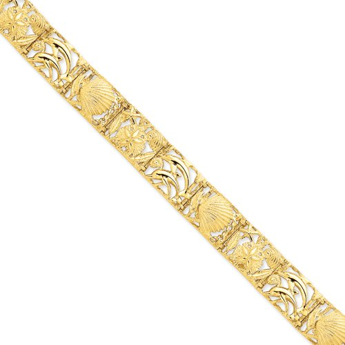 7 Inch 14k Gold Sea Life Bracelet Real Goldia