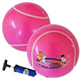 "Le Petit Tennis - My First Tennis Ball - Pack of 2 Balls + Pump (6"" Inflatable Tennis Ball) for Ages 2-3-4-5-6"