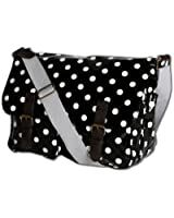 Ladies Polka Dot Oilcloth Messenger Cross Body Satchel Bag