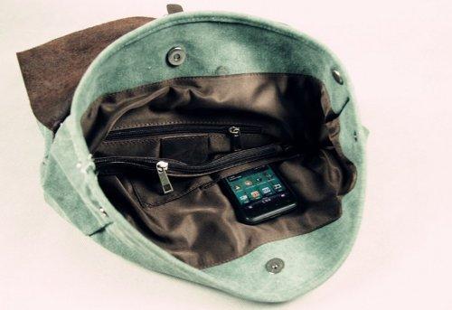 Neu Damen Vintage Canvas Leder Rucksack für Outdoor Sports Casul VINTAGE Unitasche Studententasche Schultasche Reisetasche - ideal für Uni, Freizeit, Reisen (blau)