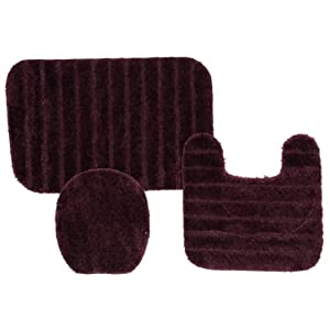 Townhouse Rugs Bath Rug Set, 20 by 30-Inch and 20 by 24-Inch, Plum