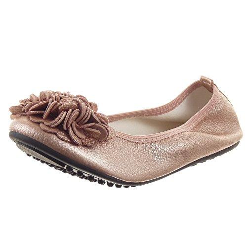Sopily - Scarpe da Moda ballerina Flessibile alla caviglia donna fiori Tacco a blocco 1 CM - Champagne FRF-1091 T 38