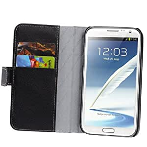 Melkco Luxury Handmade Flip Leather Case with Credit Card Slot for Samsung Galaxy Note 2 N7100 (Black)