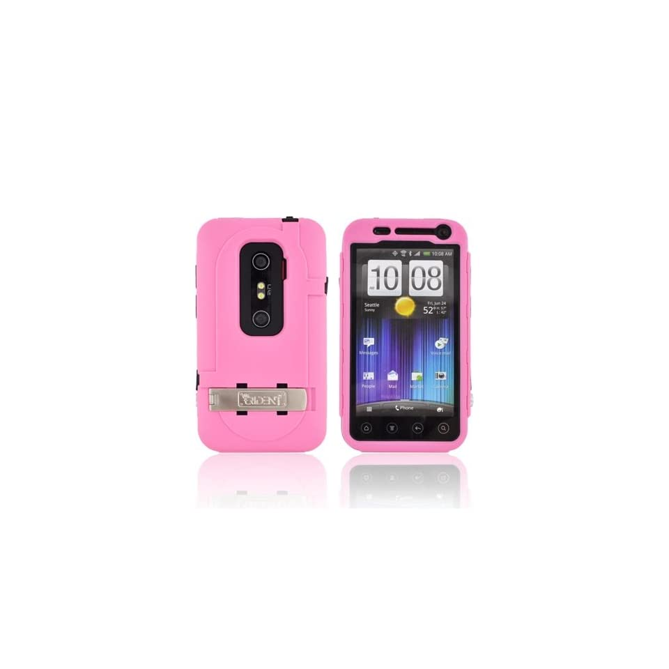For HTC EVO 3D Pink Black OEM Trident Kraken AMS Hard Silicone Case Cover w Screen Protector Kickstand & Belt Clip KKN2 EVO 3D PK