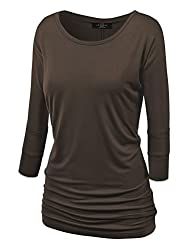 MBJ Womens 3/4 Sleeve Drape Top
