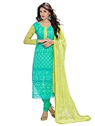 Dhruta Creation_cotton_Semi_stitched_sky colors Dress materials for women(free_size)