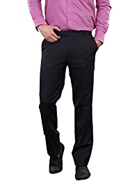 AUDACITY Trousers - Mens Formal Navy Blue Matty Cotton Blend Regular Fit Trousers