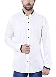 Tag & Trend Mens Slim Fit Casual and Party Wear WHITE Shirt by TRADIX INNOVATIONS (Size- 44 XXL)