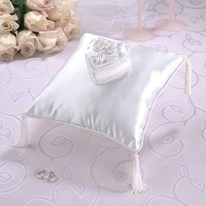 Lillian Rose White Sequin & Pearl Edge Heart Box Ring Bearer Pillow Wedding Ceremony