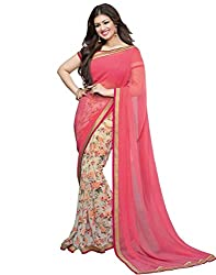 Arth Fashion Women's Georgette printed Saree With Blouse Piece (AYESHA13_Pink_FreeSize)