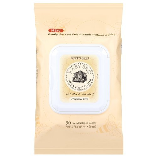 Burt's Bees Baby Bee Face & Hand Cloths, Fragrance Free 30 ea (Pack of 2)