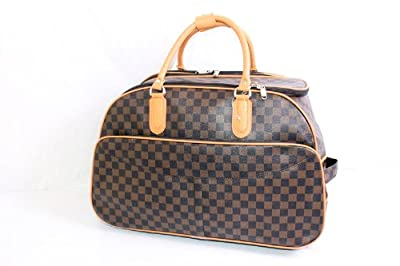 Brown Damier Pattern Wheeled Cabin Trolley Bag/ Weekend Bag/Luggage