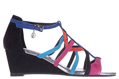 Armani Jeans zeppe sandali donna camoscio nero EU 37 C5734 16 WZ