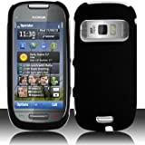 Black Hard Plastic Rubberized Case Cover for Nokia C7 Astound