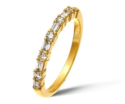 Ariel 18ct Yellow Gold 0.45ct Baguette and Round Diamond Eternity Ring