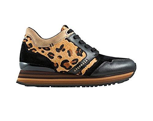 APEPAZZA RSD01 LEO-PONY NERO, scarpe donna,sneakers lacci,pelle,camoscio,cavallino,leopardato (36)