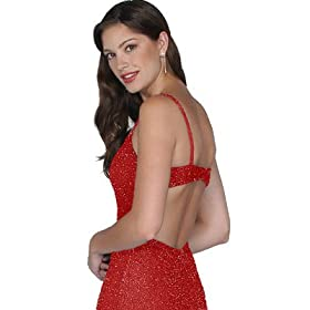 Formal Evening Gown. Red Beaded Tank Dress for Prom, Party, Wedding by Sean Collection (2040)