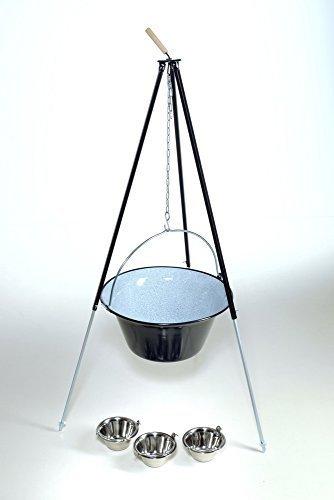 original ungarischer Gulaschkessel 40 Liter mit Dreibein 1,80m und 3 Essschüsseln – Komplettset günstig bestellen