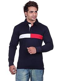 Vivid Bharti Men's Collar Navy Cotton Polo Full Sleeve T-Shirt (Premium Quality T-Shirt)