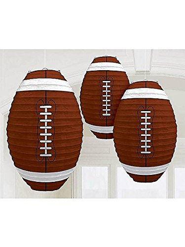 "Football 13.5"" Paper Lanterns 3 Pack"