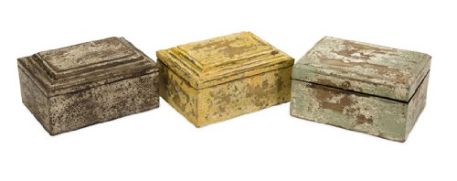 """Set Of 3 Distressed Painted Finish Wooden Boxes 8"""" front-773583"""