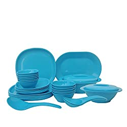 Incrizma Plastic Square Plate and Bowl Set, 32-Pieces, Turquoise