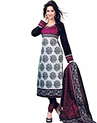 Vedant Vastram Woman's Poly Cotton Printed Unstitched Dress Material (Pink & White Colour)