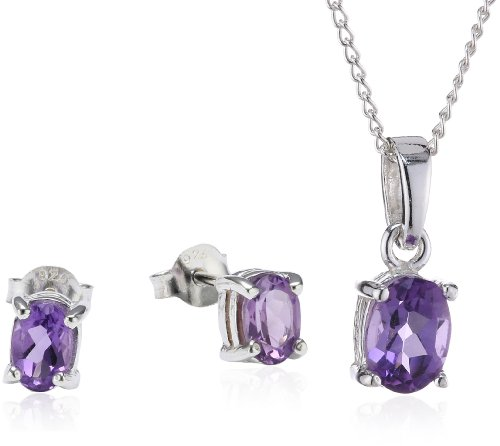 Chic Silver Amethyst Oval Pendant and Earring Set with 46cm Chain