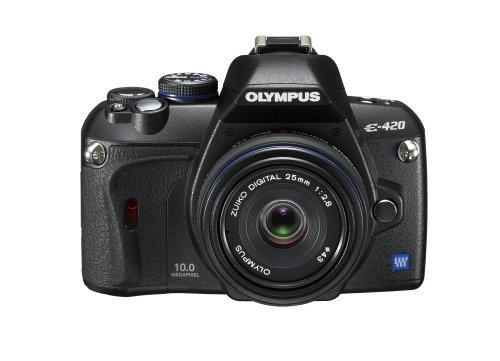 Olympus E-420 Appareil photo numérique Reflex 10 Mpix Kit Objectif 25 mm Noir