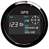 ELING GPS Speedometer Digital LCD Speed Gauge Odometer Course for Auto Marine with GPS Antenna 7 Back-Lights 85mm