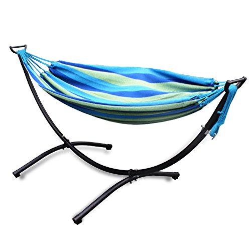 Nova Microdermabrasion Double Hammock with Space Saving Steel Stand and Free Pillow (blue)