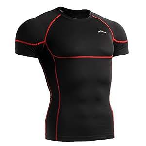 emFraa Homme Sport Noir-Collants de Compression pour Femme avec couche de Base Tee-Shirt à manches longues Taille S