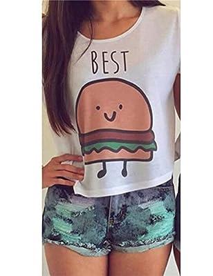 Haola Women's Best Printeded Crop Top Cute Cartoon T-Shirt Funny Tees