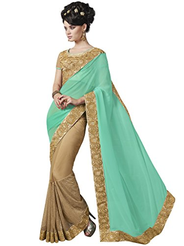 Melluha Cyan And Beige Georgette And Net Heavy Border Half And Half Designer Sarees