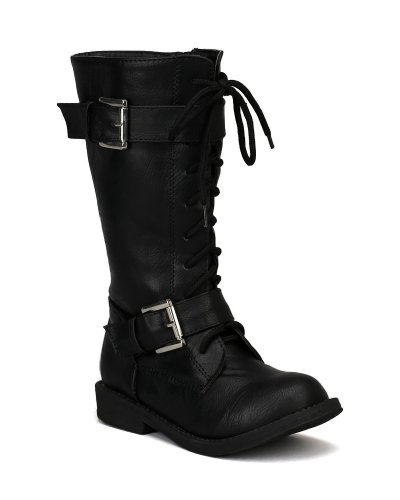 Jelly Beans Banjo Leatherette Round Toe Lace Up Bckle Strap Calf High Military Boot (Toddler/ Little Girl/ Big Girl) - Black (Size: Little Kid 12)