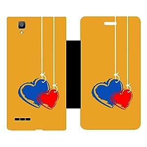 Skintice Designer Flip Cover with Vinyl wrap-around for Oppo F1, Design - Couple Heart